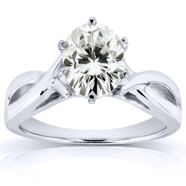 Kobelli Oval Moissanite Solitaire Crossover Ring 7/8 Carat in 14k White Gold