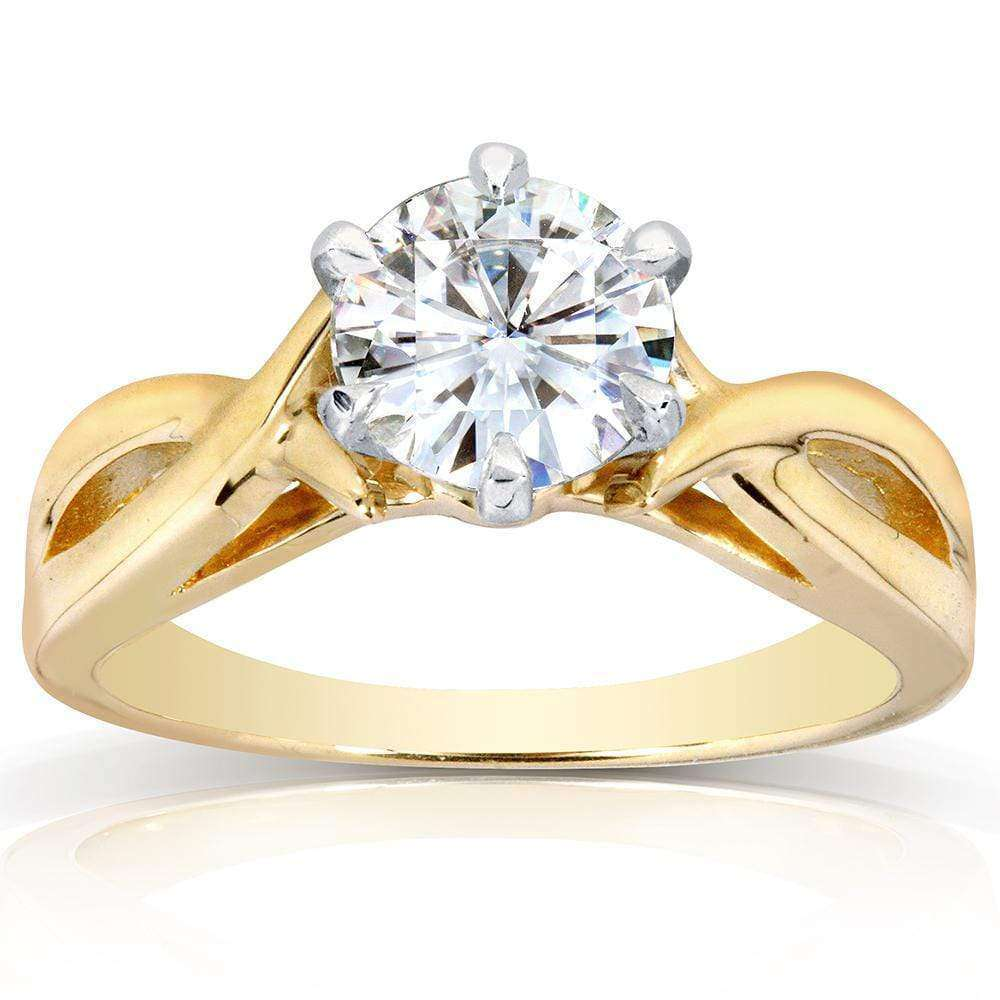 Cheap Near-Colorless (F-G) Moissanite Solitaire Engagement Ring 1 Carat 14k Yellow Gold - 9