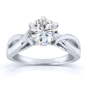 Forever One (D-F) Moissanite Solitaire Engagement Ring 1 CTW 14k White Gold