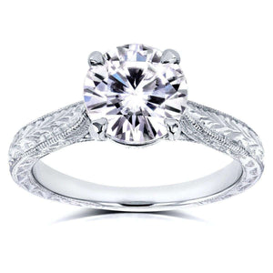 Antique Style Moissanite Engagement Ring with Diamond 1 1/2 CTW Platinum