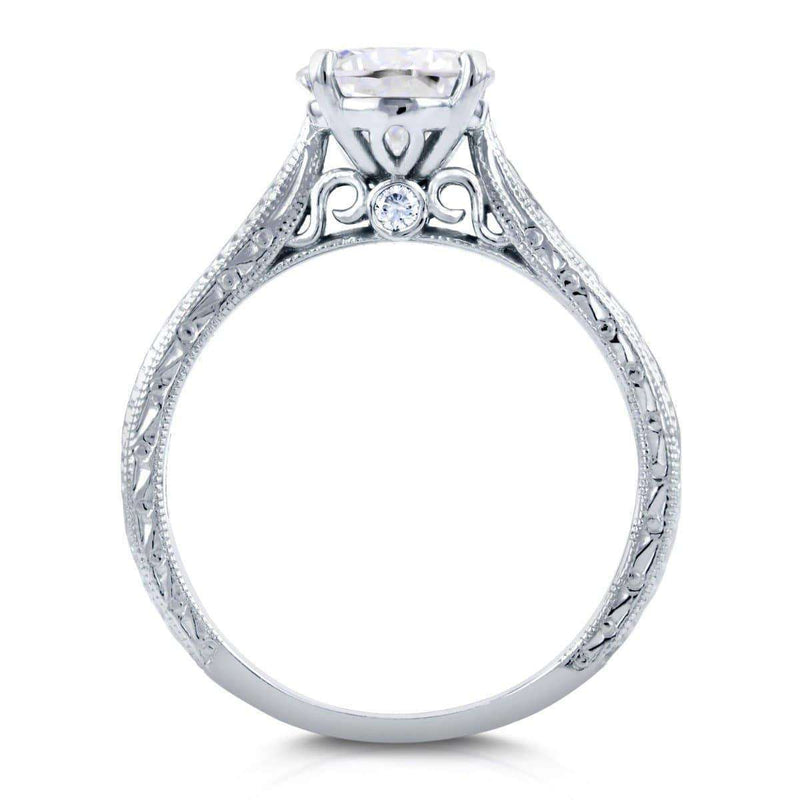 Kobelli Antique Style Moissanite Engagement Ring with Diamond 1 1/2 CTW Platinum