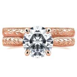 Kobelli Near-Colorless (F-G) Moissanite and Diamond Antique Cathedral Bridal Set 1 1/2 CTW in 14k Rose Gold