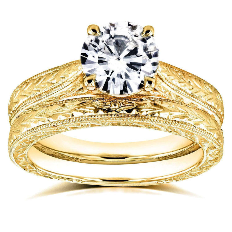 Kobelli Near-Colorless (F-G) Moissanite and Diamond Antique Cathedral Bridal Set 1 1/2 CTW in 14k Yellow Gold