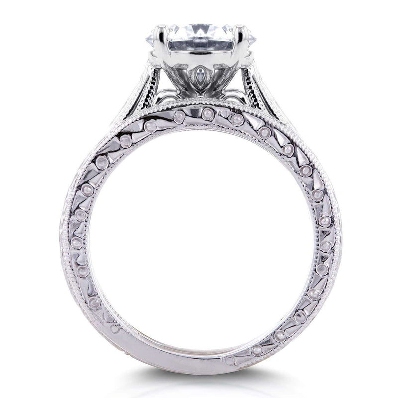 Kobelli Near-Colorless (F-G) Moissanite and Diamond Antique Cathedral Bridal Set 1 1/2 CTW in 14k White Gold