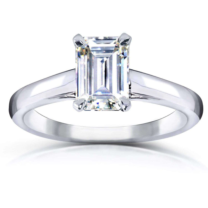 Kobelli Emerald Shape Moissanite Engagement Ring 1 Carat 14k White Gold