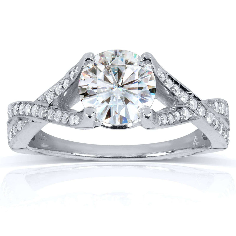 Kobelli Round Moissanite Engagement Ring with Diamond 1 1/4 CTW 14k White Gold