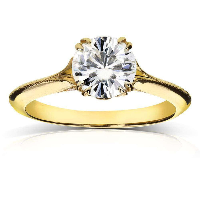 Kobelli Vintage Forever One (D-F) Moissanite Engagement Ring with Diamond 1 1/10 CTW 14k Yellow Gold
