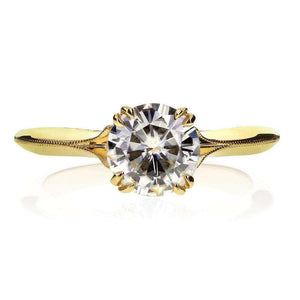 Kobelli Vintage Moissanite Engagement Ring with Diamond 1 1/10 CTW 14k Yellow Gold