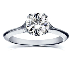 Kobelli Vintage Moissanite Engagement Ring with Diamond 1 1/10 CTW 18k White Gold