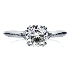 Vintage Forever One (D-F) Moissanite Engagement Ring with Diamond 1 1/10 CTW 14k White Gold