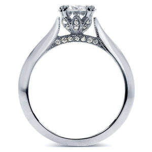 Kobelli Vintage Forever One (D-F) Moissanite Engagement Ring with Diamond 1 1/10 CTW 14k White Gold