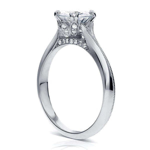 Vintage Moissanite Engagement Ring with Diamond 1 1/10 CTW Platinum