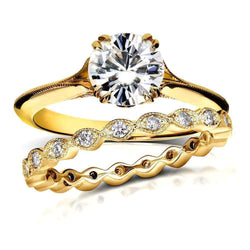 Kobelli Vintage Moissanite Bridal Set with Diamond 1 2/5 CTW 14k Yellow Gold