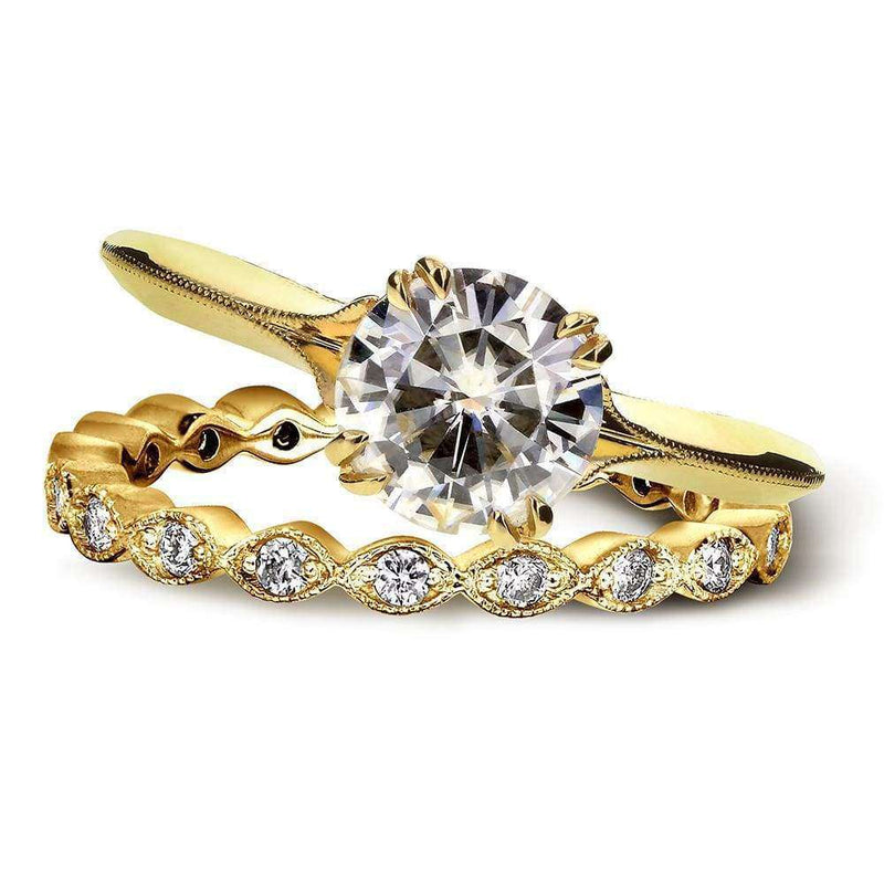 Kobelli Vintage Forever One (D-F) Moissanite Bridal Set with Diamond 1 2/5 CTW 14k Yellow Gold