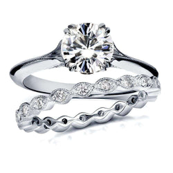 Kobelli Near-Colorless (F-G) Vintage Moissanite Bridal Set with Diamond 1 2/5 CTW 14k White Gold