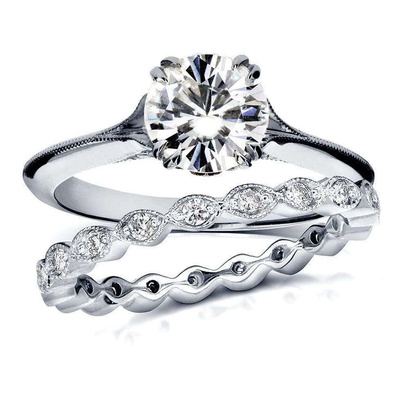 Kobelli Vintage Forever One (D-F) Moissanite Bridal Set with Diamond 1 2/5 CTW 14k White Gold