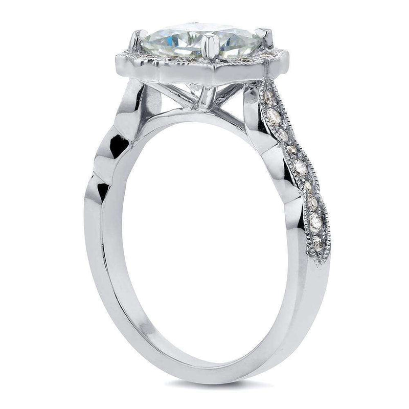 Kobelli Antique Floral Cushion-cut Moissanite Engagement Ring with Diamond 2 CTW 14k White Gold