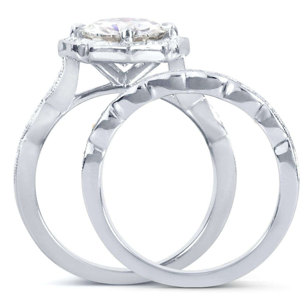 Kobelli Antique Floral Cushion-cut Moissanite Bridal Set with Diamond 2 1/6 CTW 14k White Gold