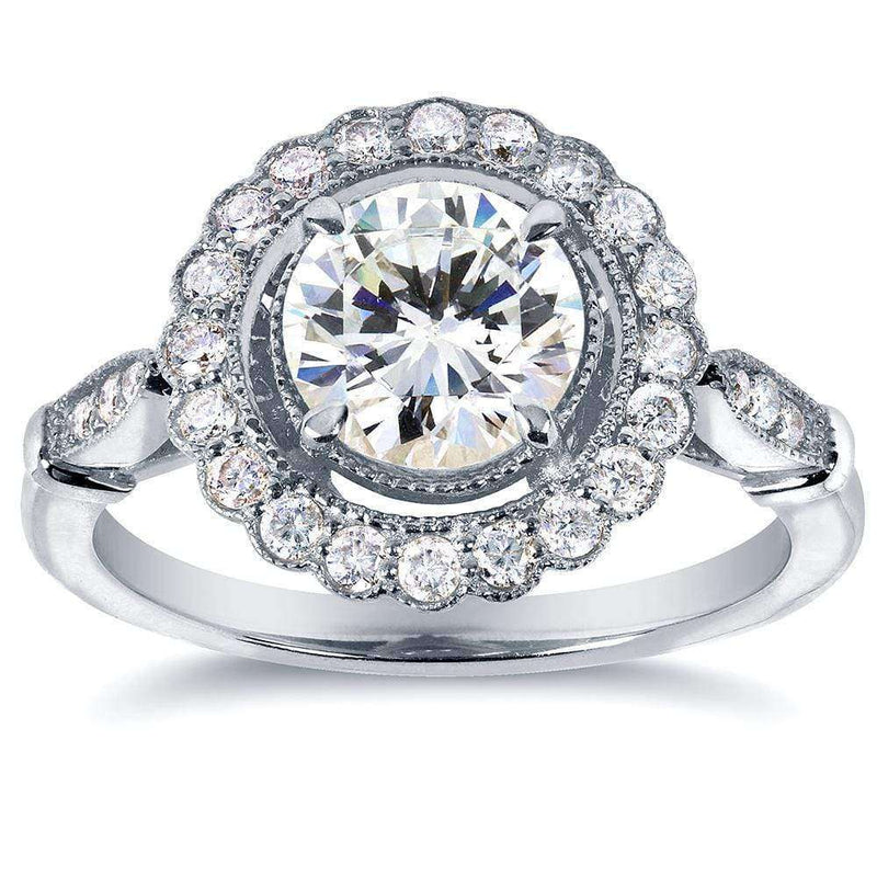 Kobelli Forever One (D-F) Antique Floral Moissanite Engagement Ring with Diamond 1 2/5 CTW 14k White Gold