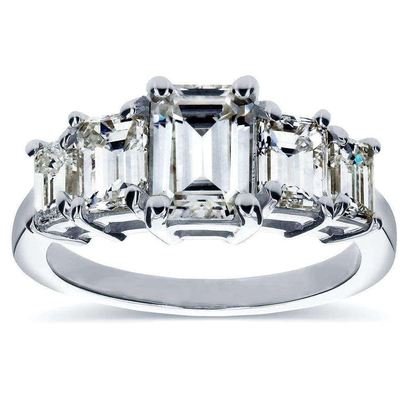 Kobelli Art Deco Near-Colorless (F-G) Emerald-Cut Moissanite and Diamond Five Stone Engagement Ring 2 1/3 carat (ctw) in Platinum