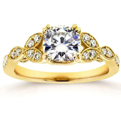 Kobelli Antique Forever One (D-F) Moissanite Engagement Ring with Diamond 1 1/5 CTW 14k Yellow Gold