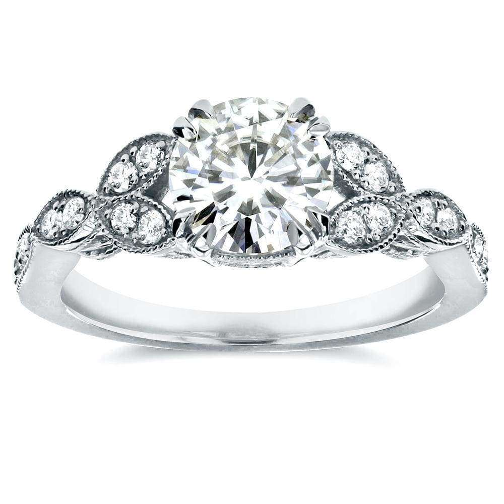 Coupons Antique Round-Cut Moissanite Engagement Ring with Diamond 1 1/5 CTW 14K White Gold - 10.5