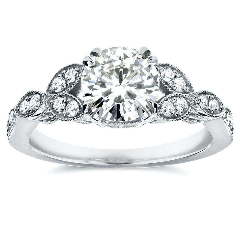 Kobelli Antique Round-Cut Moissanite Engagement Ring with Diamond 1 1/5 CTW 14K White Gold