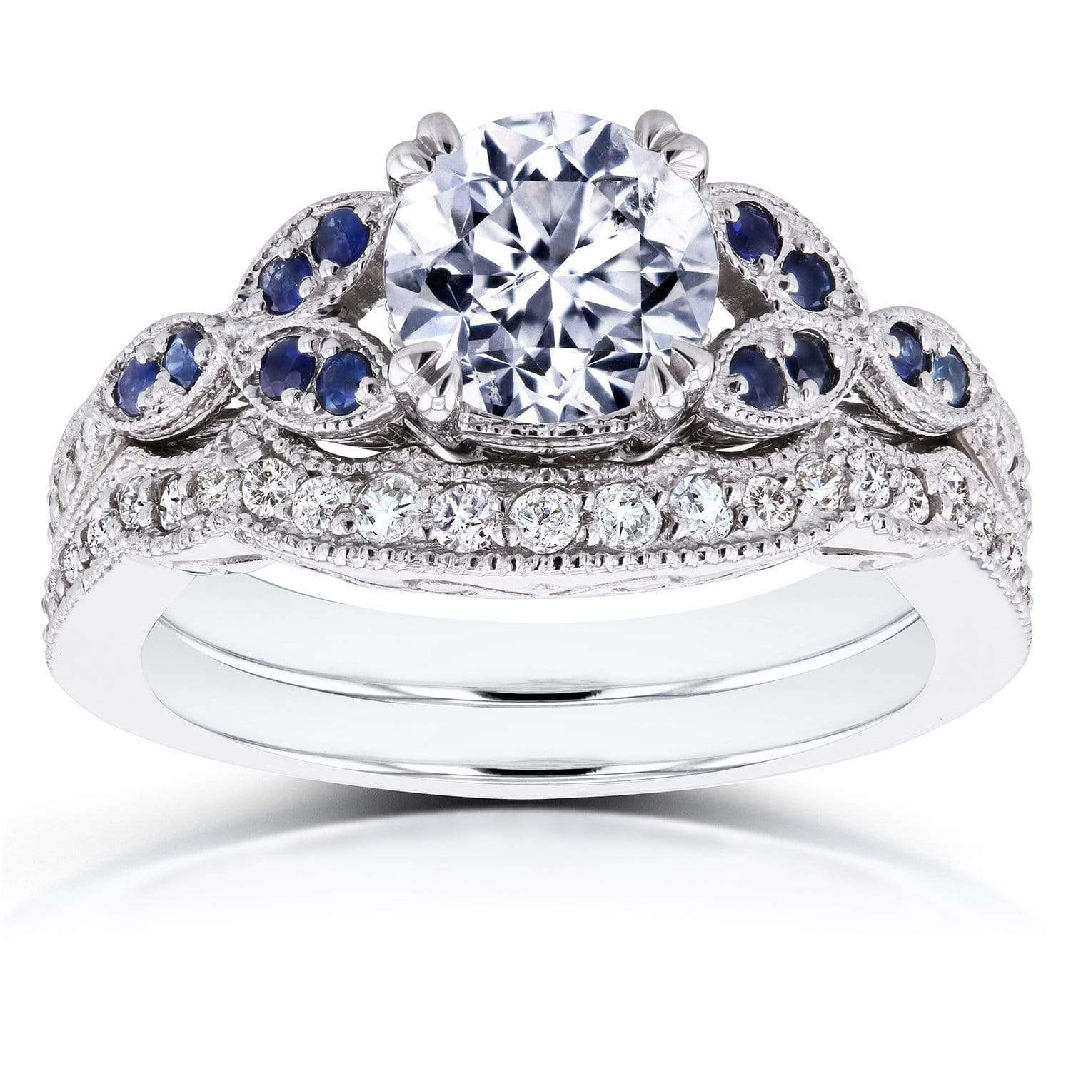 Discounts Round Diamond and Blue Sapphire Bridal Set 1 2/5 CTW in 14k White Gold - 8