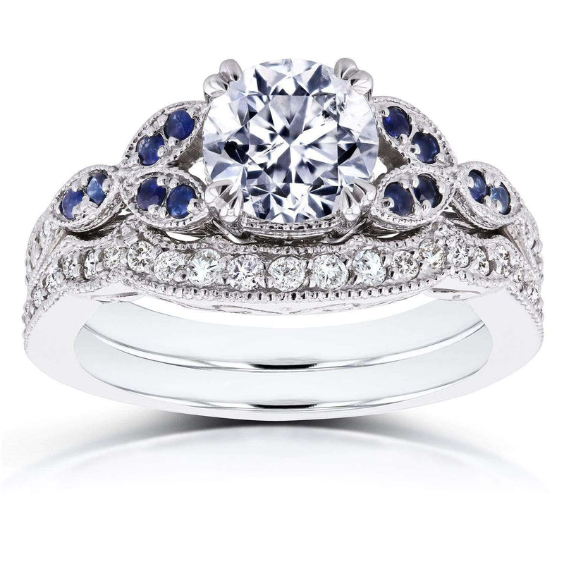 Kobelli Round Diamond and Blue Sapphire Bridal Set 1 2/5 CTW in 14k White Gold