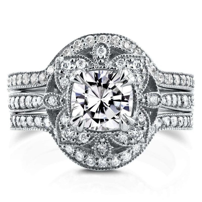 Kobelli Antique Floral Diamond 3 Piece Bridal Set 1 3/4 CTW in 14k White Gold