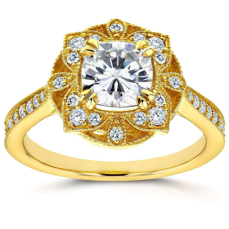 Kobelli Antique Floral Forever One (D-F) Moissanite Engagement Ring with Diamond 1 1/3 CTW 14k Yellow Gold