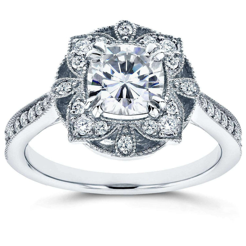 Kobelli Antique Floral Cushion-cut Moissanite Engagement Ring with Diamond 1 1/3 CTW 14k White Gold