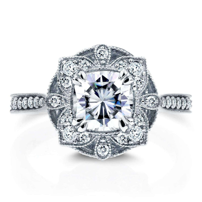 Kobelli Antique Floral Forever One (D-F) Moissanite Engagement Ring with Diamond 1 1/3 CTW 14k White Gold