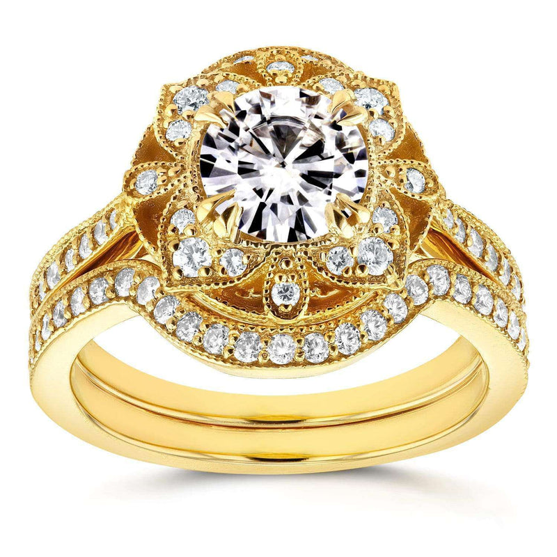 Kobelli Antique Floral Round Moissanite and Diamond Bridal Set 1 1/2 CTW in 14k Yellow Gold