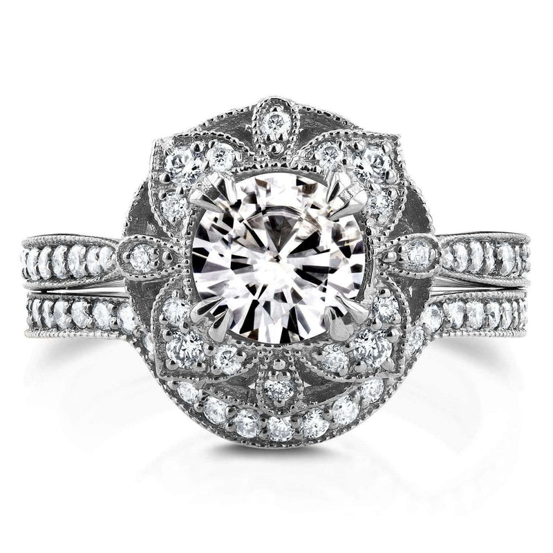 Kobelli Antique Floral Diamond Bridal Set 1 1/2 CTW in 14k White Gold