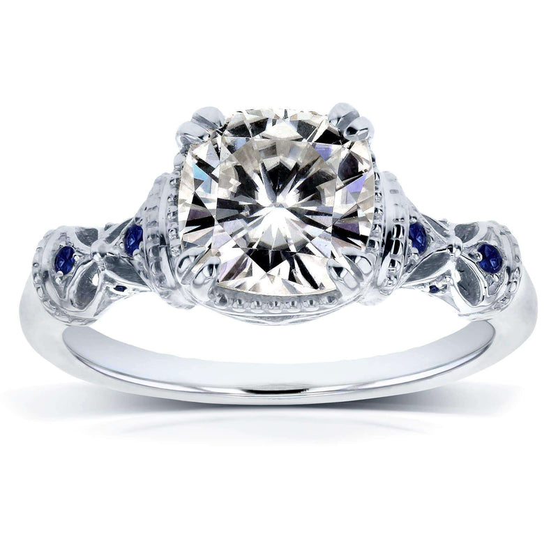 Kobelli Antique Cushion-cut Moissanite (HI) Engagement Ring with Blue Sapphire 1-3/4ct TGW 14k White Gold