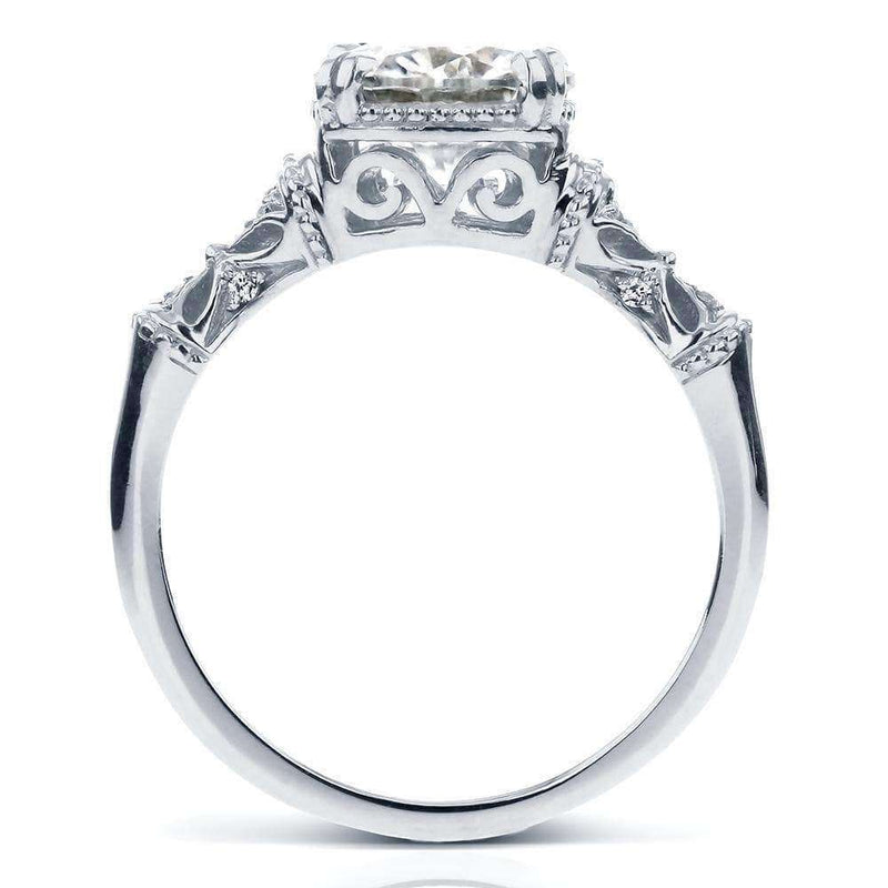 Kobelli Antique Round-cut Moissanite Engagement Ring with Diamond 1 1/2 CTW 14k White Gold