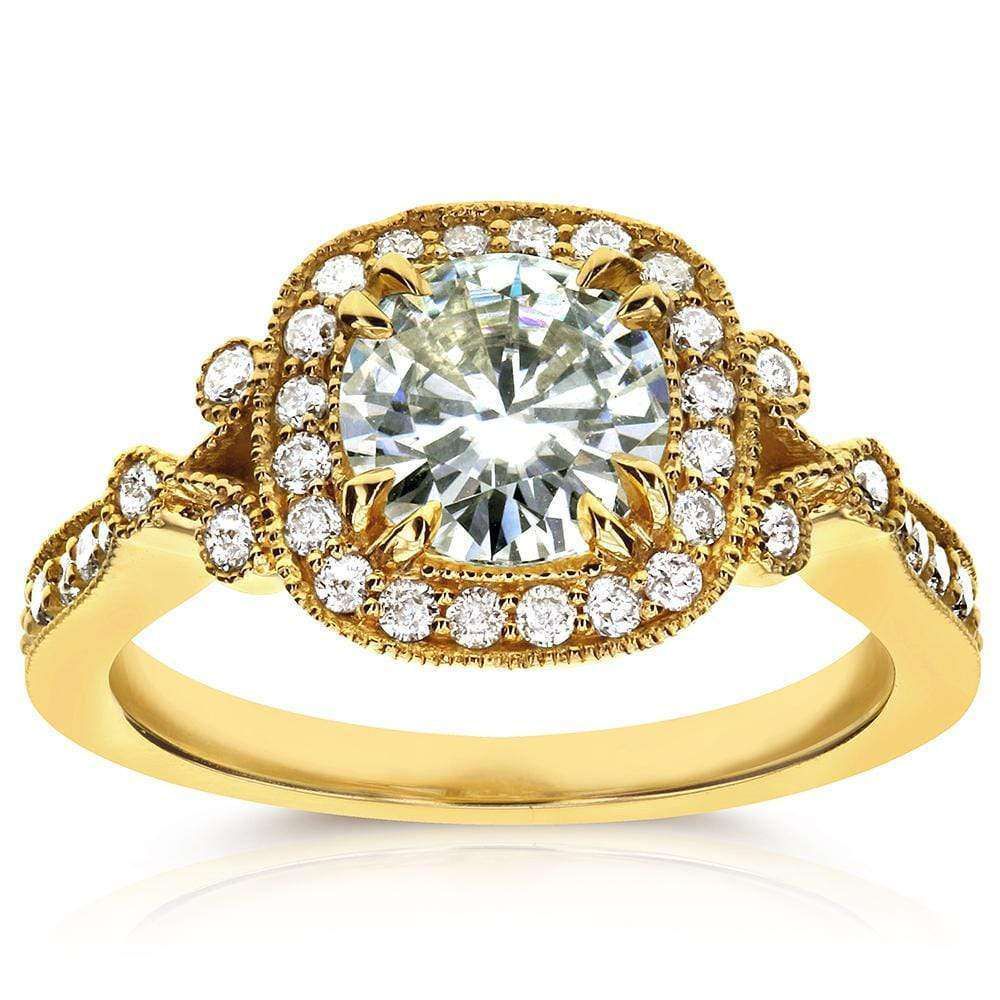 Cheap Antique Round-cut Moissanite Engagement Ring with Diamond 1 2/5 CTW 14k Yellow Gold - 5.5