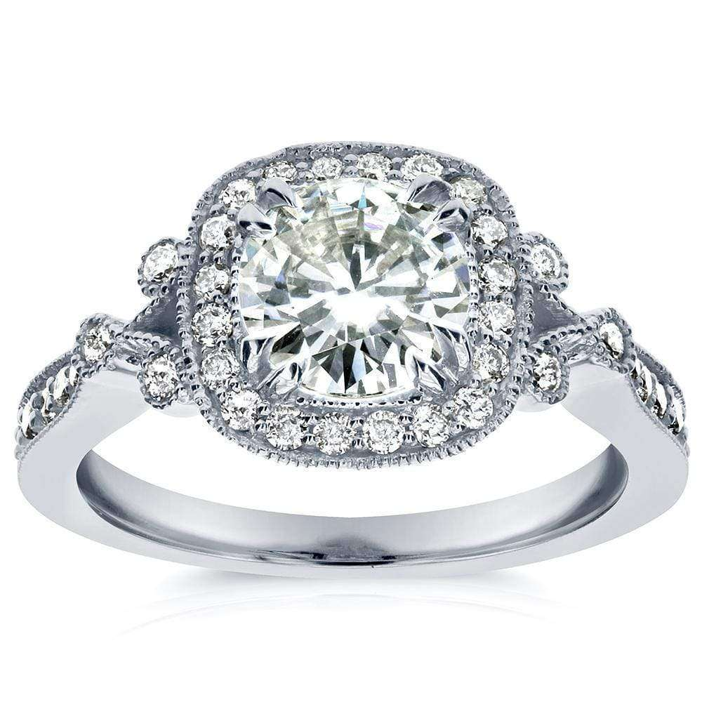Discounts Antique Round-cut Moissanite and Diamond Engagement Ring 1 2/5 Carat (ctw) in 14k White Gold - 4