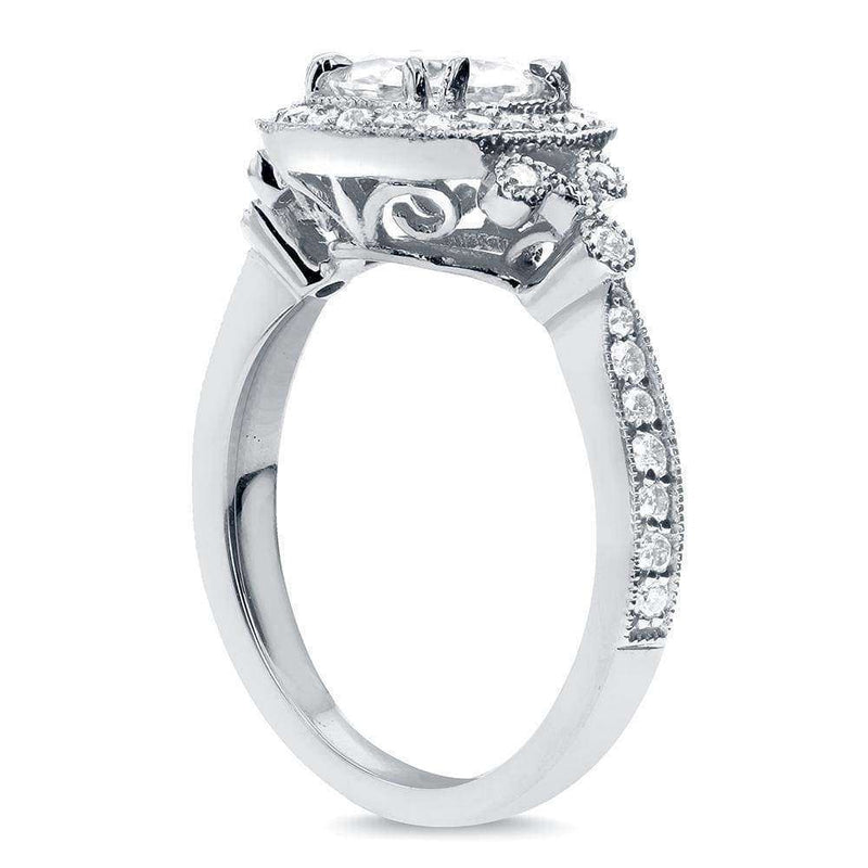 Kobelli Antique Round-cut Moissanite and Diamond Engagement Ring 1 2/5 Carat (ctw) in 14k White Gold