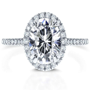 Kobelli Oval Moissanite and Halo Diamond Engagement Ring 1 4/5 CTW in 14k White Gold