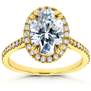 Kobelli Oval Moissanite and Halo Diamond Engagement Ring 1 4/5 CTW in 14k Yellow Gold