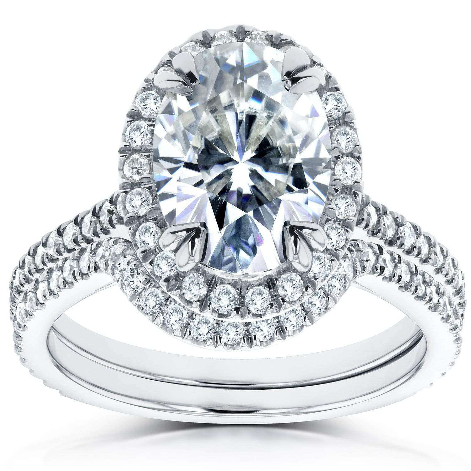 Coupons Near-Colorless (F-G) Moissanite and Halo Diamond Bridal Set 2 CTW 14k White Gold - 5