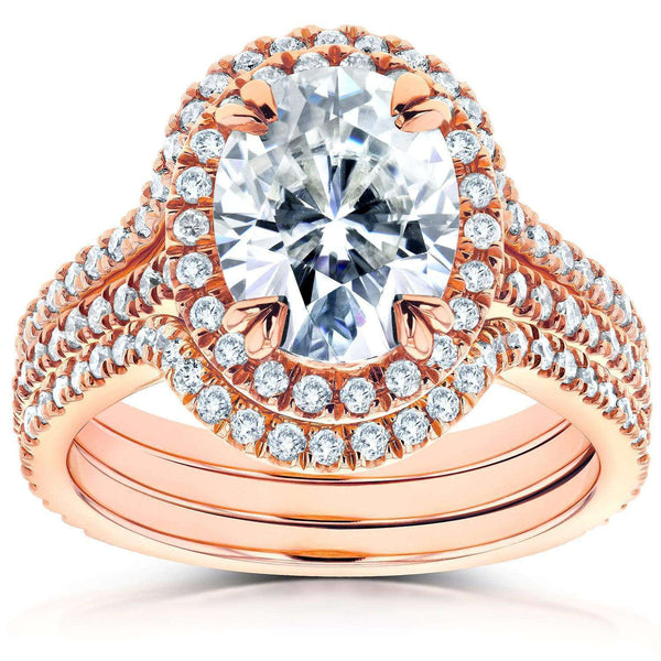 Kobelli Oval Moissanite and Diamond Halo Bridal Set 2 4/5 CTW 14k Rose Gold (3 Piece Set)