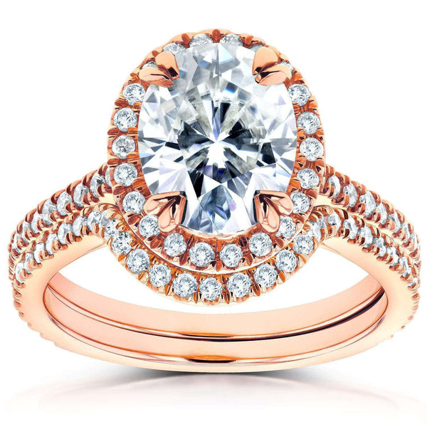 Kobelli Oval Moissanite and Diamond Halo Bridal Set 2 3/5 CTW 14k Rose Gold