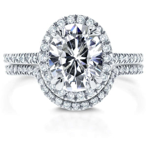 Kobelli Oval Moissanite and Diamond Halo Bridal Set 2 3/5 CTW 14k White Gold