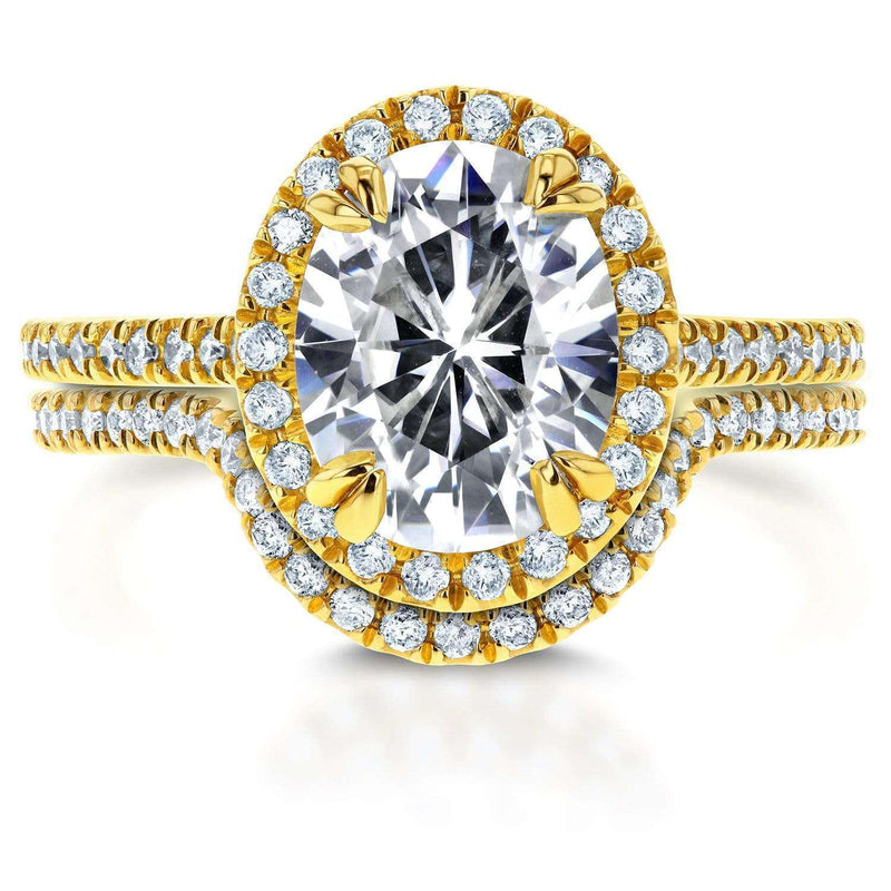 Kobelli Oval Moissanite and Diamond Halo Bridal Set 2 3/5 CTW 14k Yellow Gold
