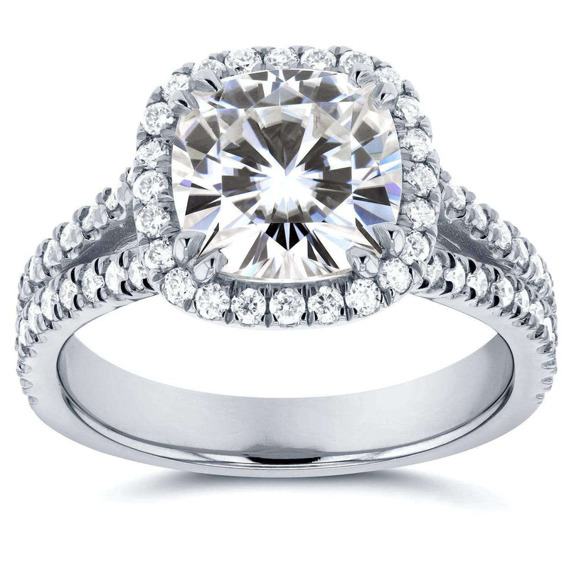 Kobelli Forever One (D-F) Moissanite and Halo Diamond Engagement Ring 2 1/2 CTW in Platinum