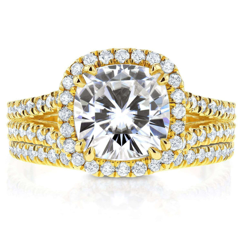 Kobelli Forever One (D-F) Moissanite and Halo Diamond Bridal Set 2 3/4 CTW 14k Yellow Gold