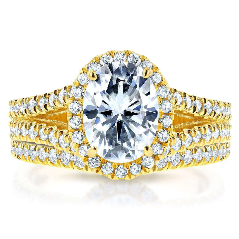 Kobelli Oval Moissanite Bridal Set with Diamond Halo Split Shank 2 1/5 CTW 14k Yellow Gold